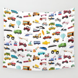 Little Boy Things That Move Vehicle Cars Pattern for Kids Wall Tapestry