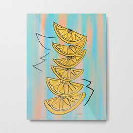 A Stack of Lemon Slices - Modern Metal Print