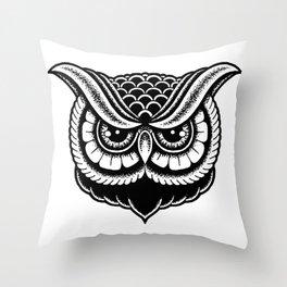 Traditional Owl Print Throw Pillow
