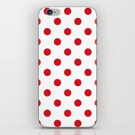 Polka Dots - Fire Engine Red on White iPhone Skin
