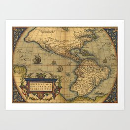 Antique Map of North and South America 1570 Art Print