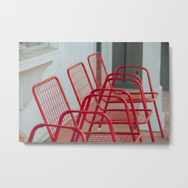 Red Chairs Metal Print