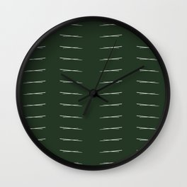 Cross Hatch Repeating - Forest Green Wall Clock