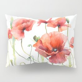Spring Poppies Papaver Meadow Red Poppies White and Red Watercolor Pillow Sham