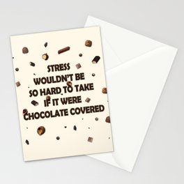 Falling chocolates with cream background Stationery Cards