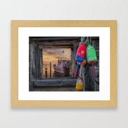 Sunrise with Fishing Boat, Gulls and Fishing Bouys Framed Art Print