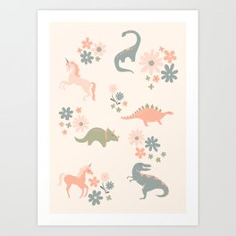Floral Burst of Dinosaurs and Unicorns in Pink + Green Art Print