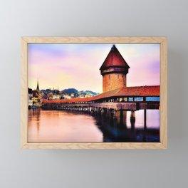 Lucerne, Switzerland Chapel Covered Bridge Framed Mini Art Print