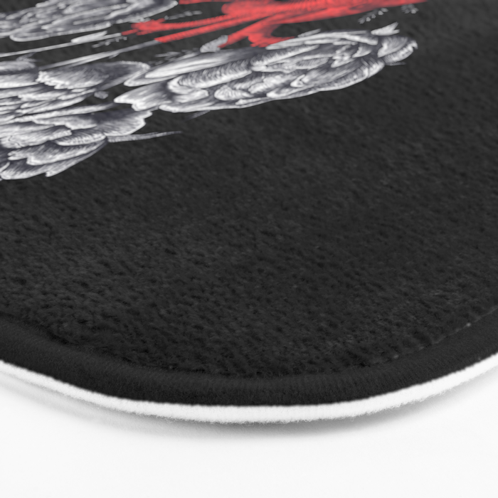 Heart with peonies on black Bath Mat