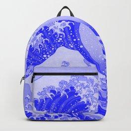 Cobalt Blue Porcelain Glaze Japanese Great Wave Backpack