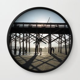Folly Beach Pier Shadows Wall Clock