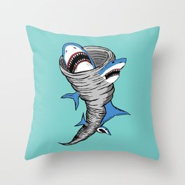 Shark Tornado Throw Pillow