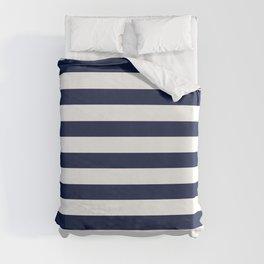 Nautical Navy Blue and White Stripes Duvet Cover
