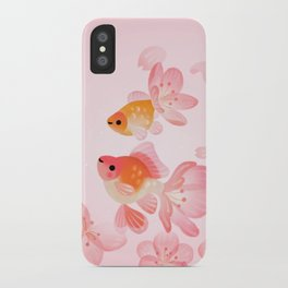 Cherry blossom goldfish iPhone Case