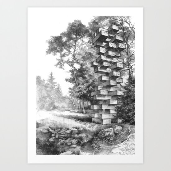 Jenga Tower Surrounded by Trees Art Print