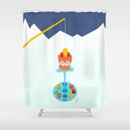 Retro pond Shower Curtain