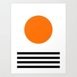 Orange Zen Sunset Minimalist Art Black Stripes Simple Art Art Print