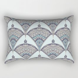 Deco Doodle in Aqua, Cream & Navy Blue Rectangular Pillow