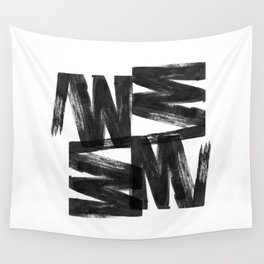 Black ink brush strokes abstract painting Wall Tapestry