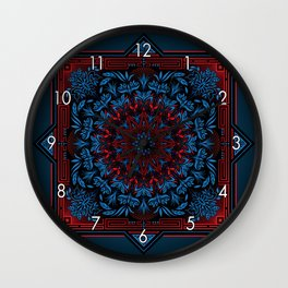 Red Blue Psychedelic Mandala Geometric Color Illustration Wall Clock