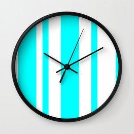 Mixed Vertical Stripes - White and Aqua Cyan Wall Clock