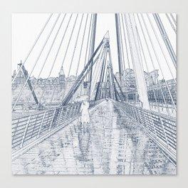 London Rain Embankment Bridge Canvas Print
