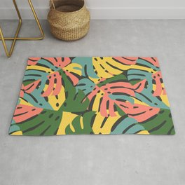 Color Blocked Monstera Leaves - Bold Rug