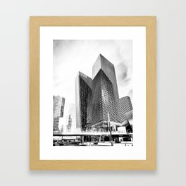 twin buildings at Las Vegas, USA in black and white Framed Art Print