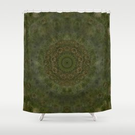 """Autumn mandala"" (Green-Grey Pattern) Shower Curtain"