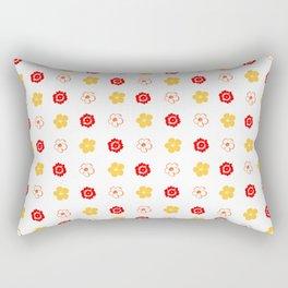 Red & Gold Flower Pattern Rectangular Pillow