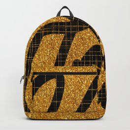 Hello / Calligraphy Style Gold glitter Background  Backpack