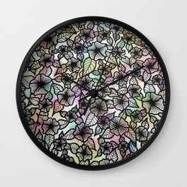 Black & White Pastel Flowers Wall Clock