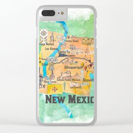 USA New Mexico State Illustrated Travel Poster Favorite Map Clear iPhone Case