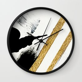 Armor [8]: a minimal abstract piece in black white and gold by Alyssa Hamilton Art Wall Clock