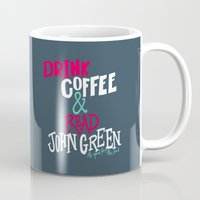 john green Mugs featuring Coffee and John Green by Chelsea Herrick