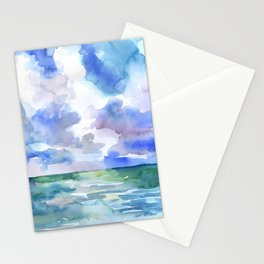 Abstract Ocean Watercolor Stationery Cards