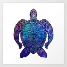 Space Sea Turtle - black Art Print