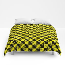 Yellow and Black Smiley Face Check Comforters