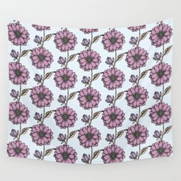 Graphic purple daisy flower pattern Wall Tapestry