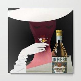 1950 Linherr Vermouth Bianco Aperitif Vintage Poster by arthur Ziegler Metal Print