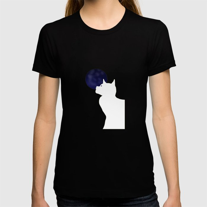 Moon and white cat T-shirt
