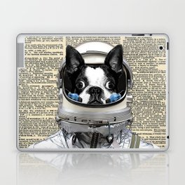 Space Pup with dictionary background Laptop & iPad Skin