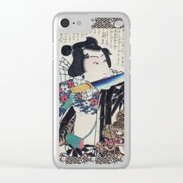 Kunichika Tattooed Warrior with Sayagata Pattern Background Clear iPhone Case