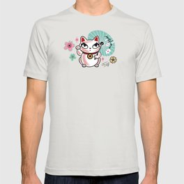 Lucky Cat Maneki Neko , Dragons and Koi fish On Pink T-shirt