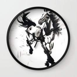 Horse running free in nature watercolor Wall Clock