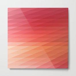 Fig. 044 Coral, Pink & Peach Geometric Diagonal Stripes Metal Print