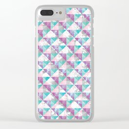 Geometric flow with flowers Clear iPhone Case