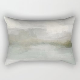 Modern Abstract Painting, Light Teal, Sage Green, Gray Cloudy Weather Digital Prints Wall Art, Ocean Rectangular Pillow