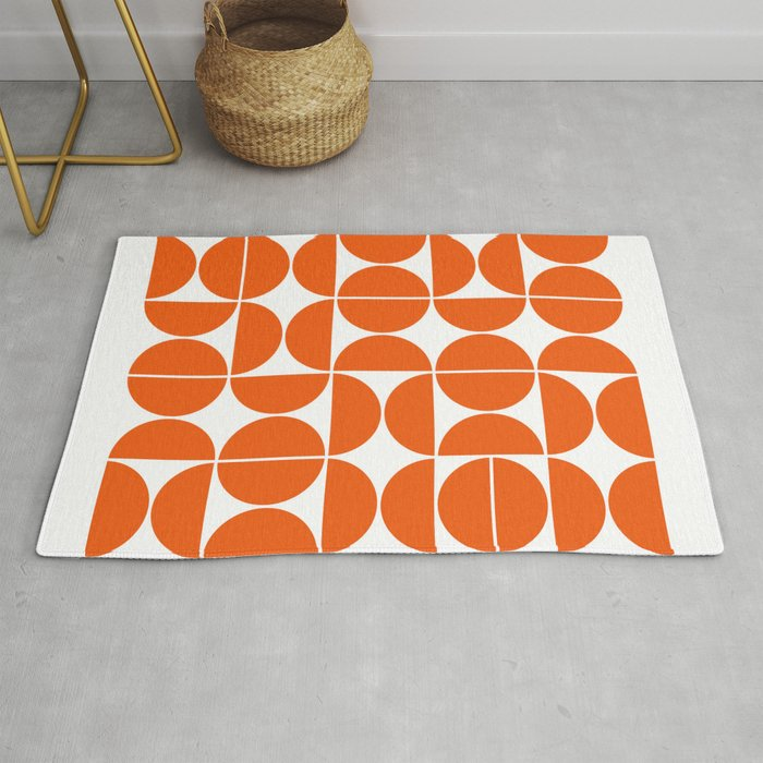 Mid Century Modern Geometric 04 Orange Rug By Theoldartstudio Society6