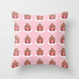 Pink Gingerbread House Throw Pillow